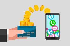 Transferencia monetaria de la tarjeta de banco al teléfono Fotos de archivo libres de regalías