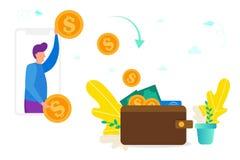 Transferencia monetaria entre el smartphone y la cartera, concepto de donante/que recibe el dinero, pago en línea, dinero en líne stock de ilustración