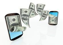 Transferencia monetaria móvil Imágenes de archivo libres de regalías