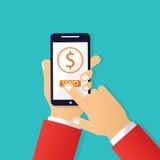 Transferencia monetaria móvil Fotografía de archivo libre de regalías