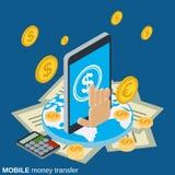 Transferencia monetaria móvil, pago, actividades bancarias en línea, transacción financiera ilustración del vector