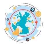 Transferencia monetaria, transacción financiera, concepto global del vector de las finanzas libre illustration