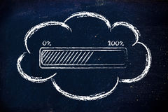 Transferencias de datos computacionales de la nube Fotografía de archivo