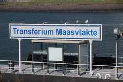 Transferium for waterbus in the Maasvlakte harbor in Rotterdam the Netherlands, workers of factories will come very wide area. Transferium for waterbus in the royalty free stock image