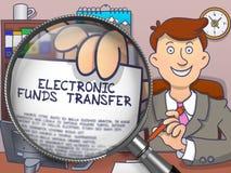 Transferência eletrônica de fundos através da lente Conceito da garatuja Fotos de Stock