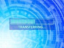 Transferring Data Background. Transferring bar on blue data technology background Stock Photos