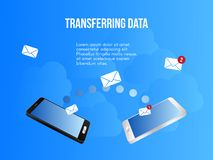 Transferring data concept design illustration template. Transferring data concept. Ready to use illustration. Suitable for background, wallpaper, landing page royalty free illustration
