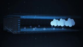 Transferring Data from a Network Server to a Cloud Computing Backup Location.  stock video