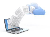 Transferring data to a cloud. Transferring information or data to a cloud network server Royalty Free Stock Photos