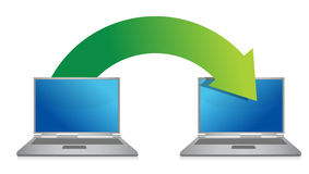 Transferring files from laptop. Illustration design over a white background Stock Image