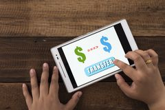 Transferring money online Royalty Free Stock Photo