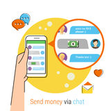 Transferring money via chat. Flat contour illustration of transferring money to friends via chat messager. Human hand holds a smartphone with chat on the display Royalty Free Stock Photography