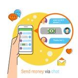 Transferring money via chat Royalty Free Stock Photography
