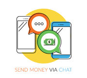 Transferring money via chat. Transferring money to friends via chat message. Flat contour illustration of two smartphones with speech bubbles Royalty Free Stock Photos