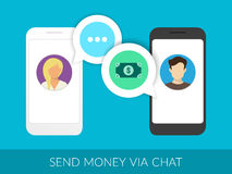 Transferring money via chat. Transferring money to friends via chat messager. Illustration of two smartphones with speech bubbles Royalty Free Stock Photos