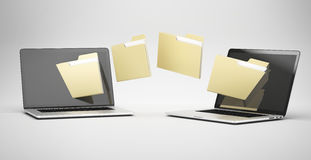 Transferring between two laptops. Isolated on a white background Stock Photos