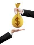 Transfers money bag Stock Photo
