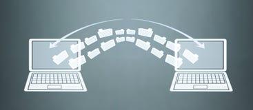 Transfert de fichier de carnets Concept d'échange de l'information illustration libre de droits