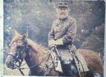 Transfert polaroïd de soldat à cheval pendant la reconstitution de guerre civile de la bataille de la course de Taureau photos libres de droits