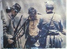 Transfert polaroïd de soldat blessé pendant la reconstitution de guerre civile de la bataille de la course de Taureau photographie stock libre de droits