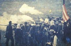Transfert polaroïd des soldats dans la bataille pendant la reconstitution de guerre civile de la bataille de la course de Taureau photos libres de droits