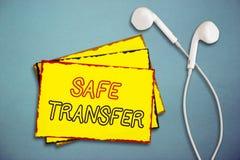 Transfert sûr des textes d'écriture de Word Concept d'affaires pour de fil de transferts la transaction non sur papier électroniq photo libre de droits