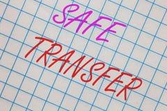 Transfert sûr des textes d'écriture de Word Le concept d'affaires pour le carnet non sur papier de transaction de transferts de f images libres de droits