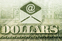 Transferts d'argent d'email Image stock