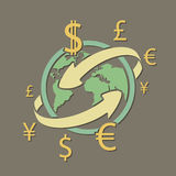 Transferts d'argent de monnaie internationale Illustratio courant illustration de vecteur