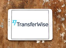 TransferWise money transfer service logo. Logo of TransferWise company on samsung tablet. TransferWise is an Estonian developed and UK-based money transfer Stock Photos