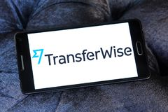 TransferWise money transfer service logo. Logo of TransferWise company on samsung mobile. TransferWise is an Estonian developed and UK-based money transfer Stock Images