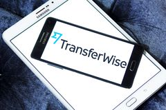 TransferWise money transfer service logo. Logo of TransferWise company on samsung mobile. TransferWise is an Estonian developed and UK-based money transfer Stock Photo