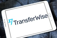 TransferWise money transfer service logo. Logo of TransferWise company on samsung tablet. TransferWise is an Estonian developed and UK-based money transfer royalty free stock photo