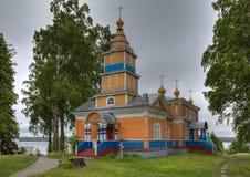 Transfiguratiekathedraal van Vazheozersky-klooster Stock Foto