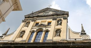 Transfiguratiekerk in lvivstad, de Oekraïne royalty-vrije stock fotografie