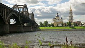 Transfiguration cathedral complex. With motor road bridge in Rybinsk, Russia stock footage