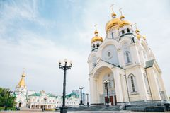 Transfiguration Cathedral historical architecture in Khabarovsk, Russia