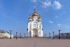 Transfiguration Cathedral in Khabarovsk, Russia Royalty Free Stock Images