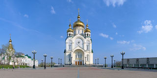 Transfiguration Cathedral in Khabarovsk, Russia. Panorama of Square of Glory with Transfiguration Cathedral in Khabarovsk. The Cathedral with height of 96 meters Royalty Free Stock Photos