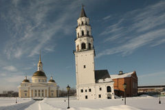 Transfiguration Cathedral and the Leaning Tower. Nevyansk Stock Images