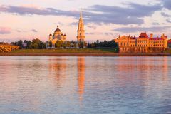 Transfiguration Cathedral in the light of the setting sun. Rybinsk, Russia. View of the Transfiguration Cathedral in the light of the setting sun on a July stock images