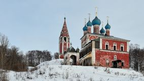 The Transfiguration Church of Kazan in the city of Tutaev. Winter view of the Kazan Transfiguration Church in Tutayev, on the Volga River, in Russia Stock Image