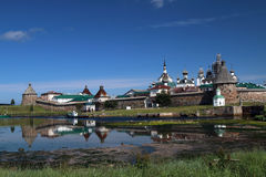 Transfiguration de monastère de Jesus Christ Savior Solovetskiy sur des îles de Solovki (archipel de Solovetskiy) en mer blanche, Images stock