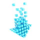 Transfira arquivos pela rede o emblema do ícone da seta da tecnologia feito de cubos azuis ilustração stock