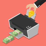 Transform the idea to the money by printer. Business concept Stock Images