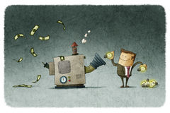 Transform ideas for money. Businessman transforms ideas for money in a machine royalty free illustration