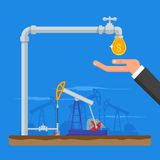 Transform oil to money concept. Get cash from pipe. Fuel pumps. Vector illustration in flat style. Gasoline and gas Stock Photography