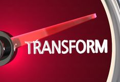 Transform Speedometer Measure Transition Transformation. 3d Illustration Royalty Free Stock Photography