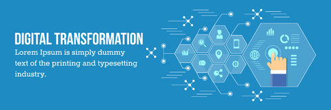 Transformación de Digitaces - desarrollo de negocios vía tecnología digital ilustración del vector
