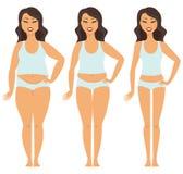 Transformación femenina de la pérdida de peso ilustración del vector